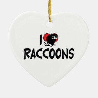 J'aime des ratons laveurs de coeur ornement cœur en céramique