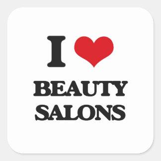 J'aime des salons de beauté sticker carré