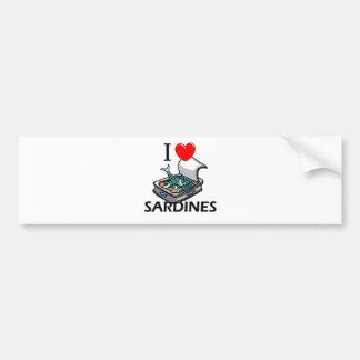 J'aime des sardines autocollant pour voiture