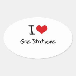 J'aime des stations service autocollant ovale