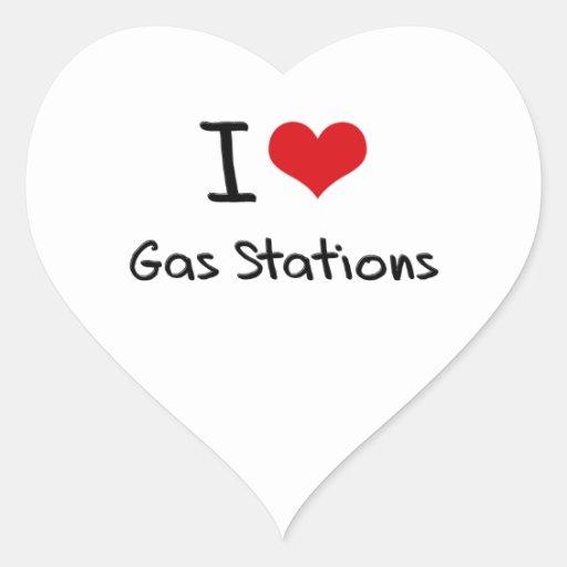 J'aime des stations service autocollants en cœur