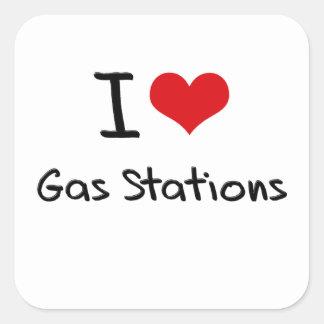 J'aime des stations service autocollant carré