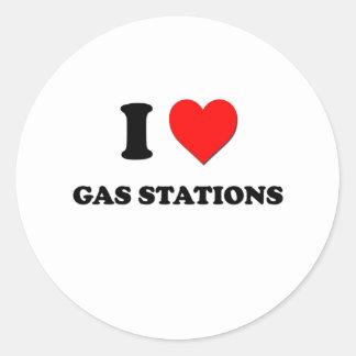 J'aime des stations service autocollant rond