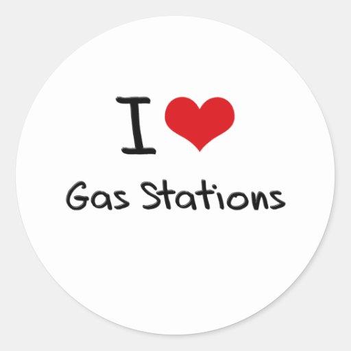 J'aime des stations service autocollants ronds