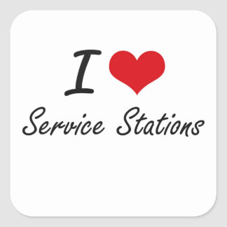 J'aime des stations service sticker carré