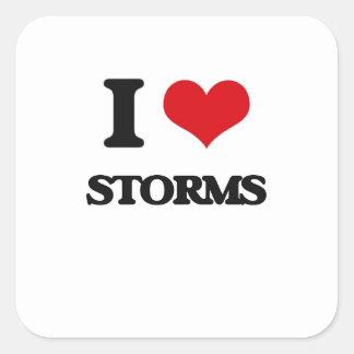 J'aime des tempêtes sticker carré
