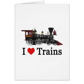 J'aime des trains carte de vœux