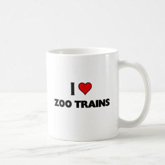 J'aime des trains de zoo mug blanc