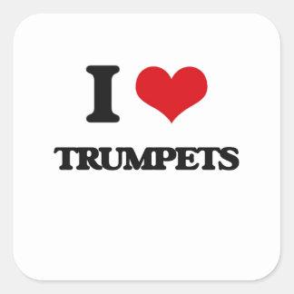 J'aime des trompettes sticker carré