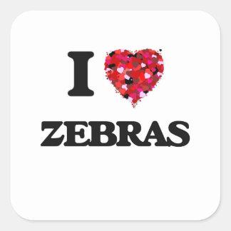 J'aime des zèbres sticker carré