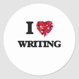 J'aime écrire sticker rond