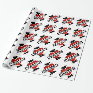 J'aime faire de la planche à roulettes papier cadeau noël