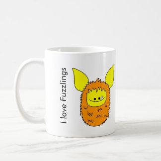 J'aime Fuzzling orange/jaune de tasse de Fuzzlings