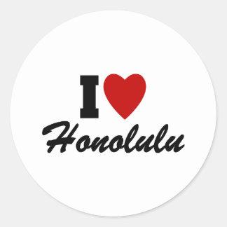 J'aime Honolulu Sticker Rond