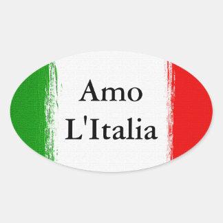 J'aime Italy.Flag de l'Italie Sticker Ovale