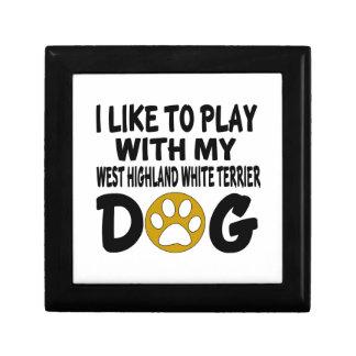 J'aime jouer avec ma montagne Terrier blanc Petite Boîte À Bijoux Carrée