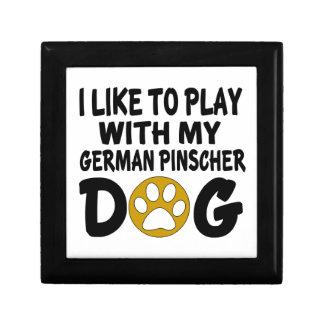 J'aime jouer avec mon chien allemand de Pinscher Petite Boîte À Bijoux Carrée
