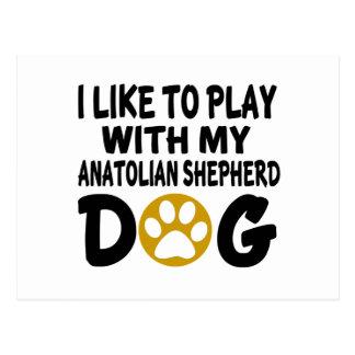 J'aime jouer avec mon chien anatolien de chien de cartes postales