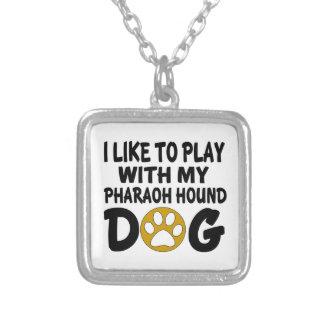 J'aime jouer avec mon chien de chasse de pharaon pendentif carré