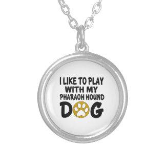 J'aime jouer avec mon chien de chasse de pharaon pendentif rond