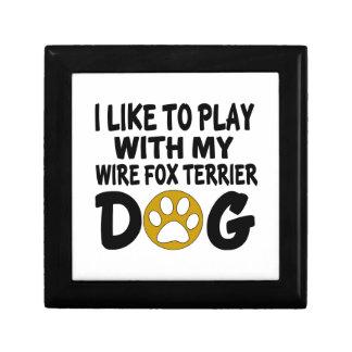 J'aime jouer avec mon chien de Fox Terrier de fil Petite Boîte À Bijoux Carrée