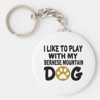 J'aime jouer avec mon chien de montagne de Bernese Porte-clé Rond