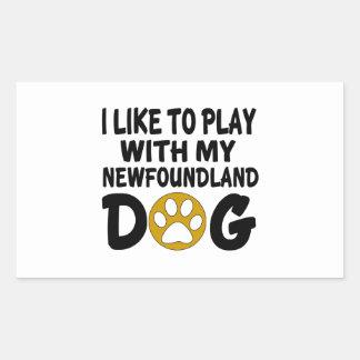J'aime jouer avec mon chien de Terre-Neuve Sticker Rectangulaire