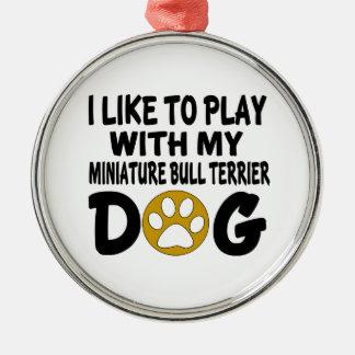 J'aime jouer avec mon chien miniature de ornement rond argenté