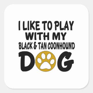 J'aime jouer avec mon chien noir et bronzage de sticker carré