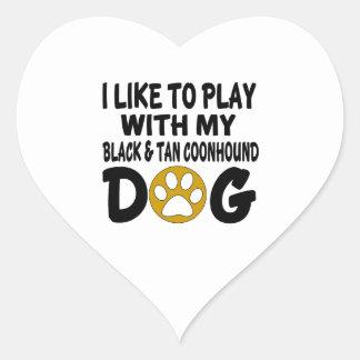 J'aime jouer avec mon chien noir et bronzage de sticker cœur