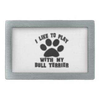 J'aime jouer avec mon chien terrier de Taureau Boucle De Ceinture Rectangulaire