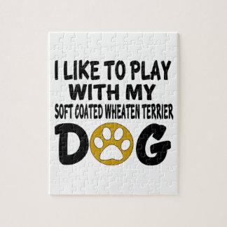 J'aime jouer avec mon Terrier blond comme les blés Puzzle