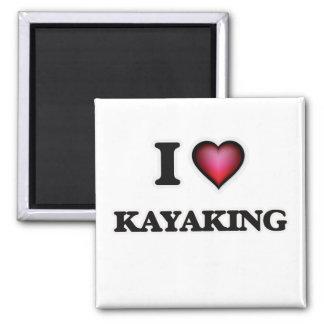 J'aime Kayaking Magnet Carré