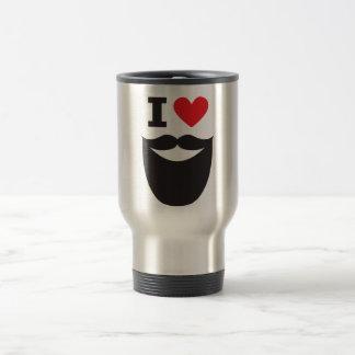 J'aime la barbe - rouge mug de voyage en acier inoxydable