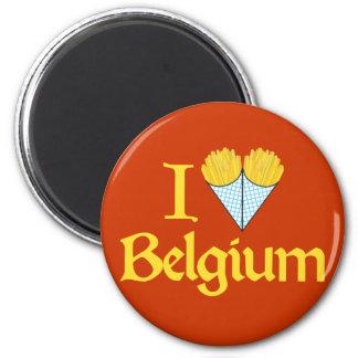 J'aime la Belgique Magnet Rond 8 Cm