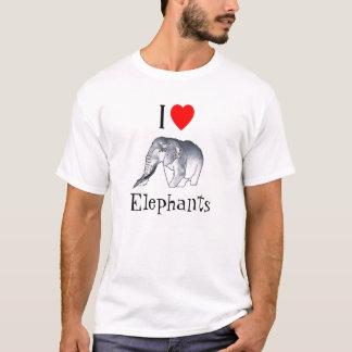J'aime la chemise d'éléphants t-shirt