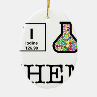 J'aime la chimie ornement ovale en céramique