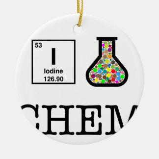 J'aime la chimie ornement rond en céramique