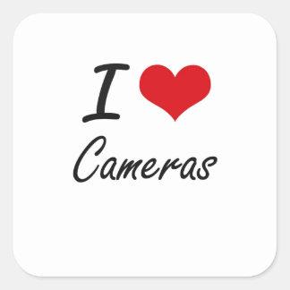 J'aime la conception artistique d'appareils-photo sticker carré