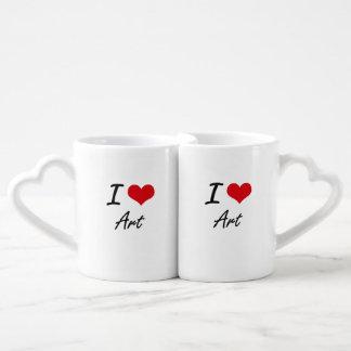 J'aime la conception artistique d'art set mugs duo