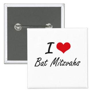 J'aime la conception artistique de bat mitzvah badge carré 5 cm