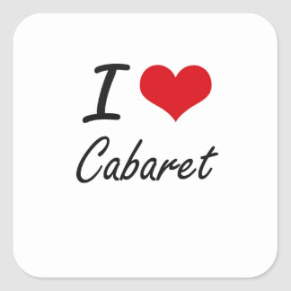 J'aime la conception artistique de cabaret sticker carré