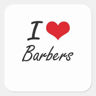 J'aime la conception artistique de coiffeurs sticker carré