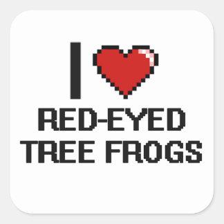 J'aime la conception aux yeux rouges de Digitals Sticker Carré
