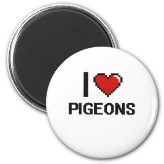J'aime la conception de Digitals de pigeons Magnet Rond 8 Cm