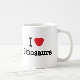 J'aime la coutume de coeur de dinosaures personnal tasse à café