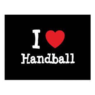 J'aime la coutume de coeur de handball carte postale