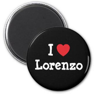 J'aime la coutume de coeur de Lorenzo personnalisé Magnets