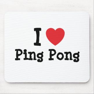 J'aime la coutume de coeur de ping-pong personnali tapis de souris