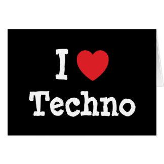 J'aime la coutume de coeur de techno personnalisée carte de vœux